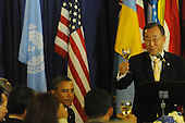 United States President Barack Obama, lower left, listens as United Nations Secretary General Ban Ki-Moon offers a toast before lunch at UN Headquarters in New York, New York on Wednesday, September 21, 2011..Credit: Aaron Showalter / Pool via CNP