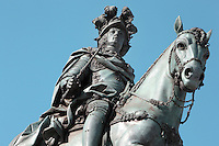 Equestrian statue of King Jose I trampling on snakes, 1775, by Machado de Castro, on the Placa do Commercio or Commerce Square, Lisbon, Portugal. The square was previously known as Terreiro do Paco or Palace Square as it was the site of the Pacos da Ribeira or Royal Ribeira Palace until it was destroyed in the 1755 earthquake. Picture by Manuel Cohen