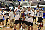 27 APR 2014: L to R: Jimmy O'Leary, Nick Ferry and Angel Perez of Springfield College with the National Champions trophy  during the Division III Men's Volleyball Championship held at the Kennedy Sports Center in Huntingdon, PA. Springfield defeated Juniata 3-0 to win the national title.  Mark Selders/NCAA Photos