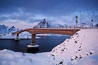 Winter view of bridge on E10 connecting Hamnøya and Toppøya islands, Lofoten islands, Norway