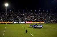 A giant Bath Rugby jersey is held on the pitch prior to the match. Aviva Premiership match, between Bath Rugby and Newcastle Falcons on March 18, 2016 at the Recreation Ground in Bath, England. Photo by: Patrick Khachfe / Onside Images