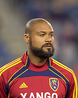 Real Salt Lake defender Robbie Russell (3). In a Major League Soccer (MLS) match, Real Salt Lake defeated the New England Revolution, 2-0, at Gillette Stadium on April 9, 2011.