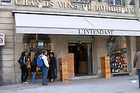Wine shop. L'Intendant. Bordeaux city, Aquitaine, Gironde, France