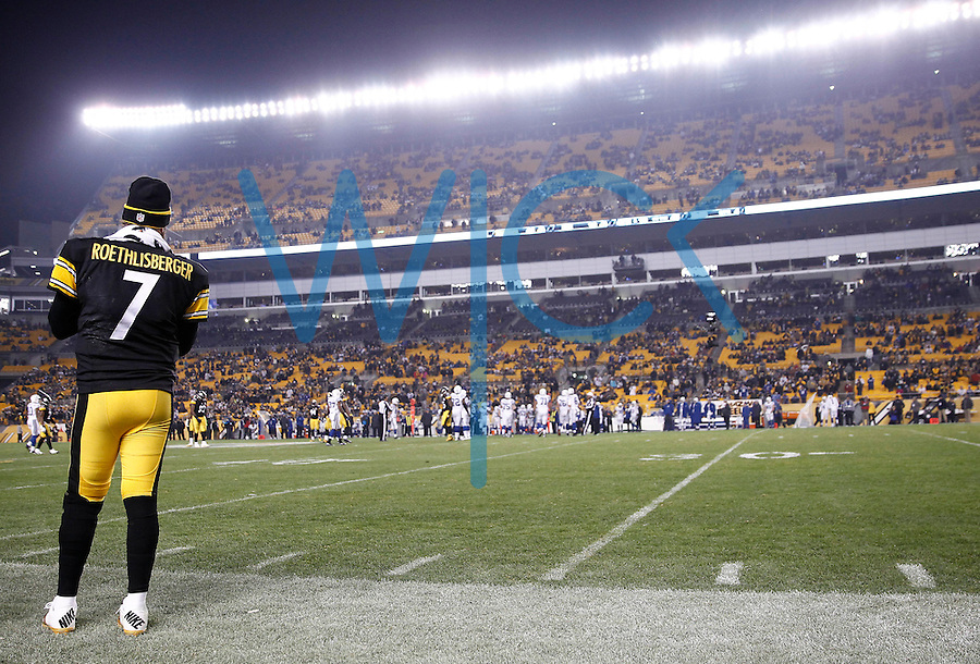 Ben Roethlisberger #7 of the Pittsburgh Steelers stands on the sideline in the final minutes of the fourth quarter against the Indianapolis Colts during the game at Heinz Field on December 6, 2015 in Pittsburgh, Pennsylvania. (Photo by Jared Wickerham/DKPittsburghSports)