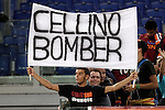 Calcio, Serie A: Roma vs Sampdoria. Roma, stadio Olimpico, 26 settembre 2012..AS Roma fans exhibit a banner aimed to Cagliari president Massimo Cellino prior to the start of the Italian Serie A football match between AS Roma and Sampdoria at Rome's Olympic stadium, 26 September 2012..UPDATE IMAGES PRESS/Riccardo De Luca