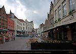 Eiermarkt Egg Market Restaurants, Pieter Pepers Baroque Pump, Sint-Jakobstraat, Bruges, Brugge, Belgium