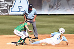 24 April 2016: North Carolina's Erin Satterfield (3) is tagged out sliding into second base by Notre Dame's Ali Wester (37). The University of North Carolina Tar Heels hosted the University of Notre Dame Fighting Irish at Anderson Stadium in Chapel Hill, North Carolina in a 2016 NCAA Division I softball game. UNC won game 1 of the doubleheader 7-4.