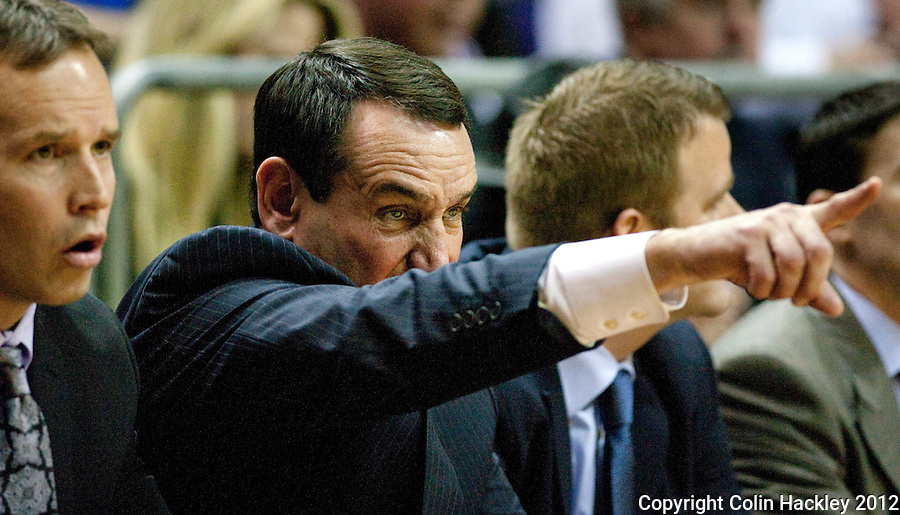 TALLAHASSEE, FLA. 2/23/12-FSU-DUKE022312 CH-Duke Coach Mike Krzyzewski points the way for his team during first half action against FSU, Feb. 23, 2012 in Tallahassee..COLIN HACKLEY PHOTO
