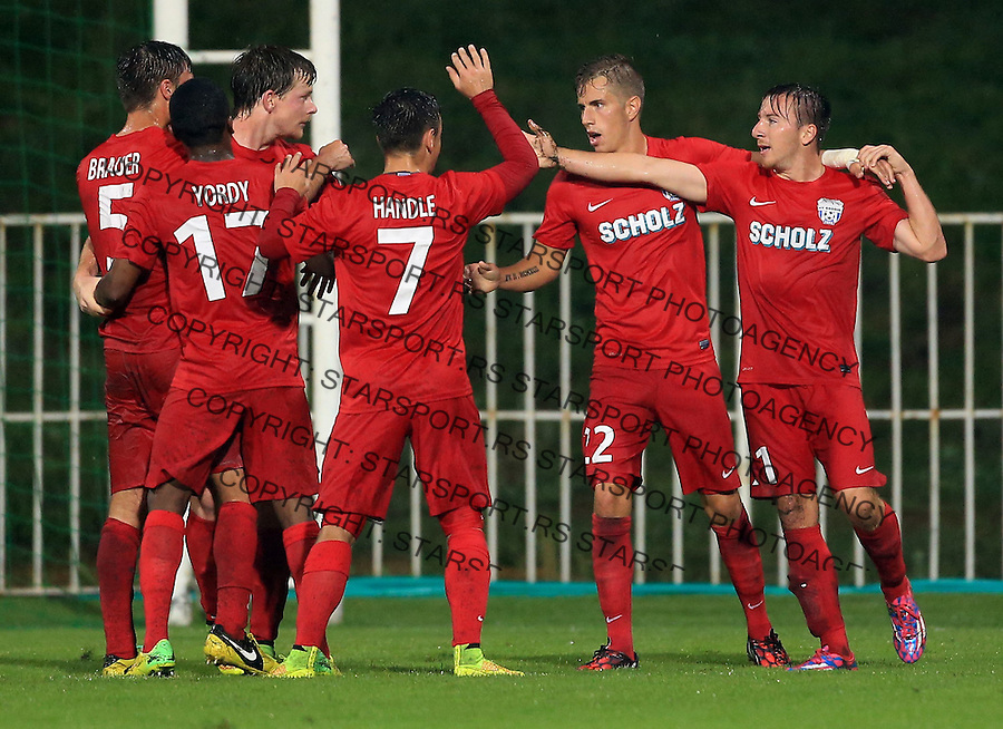 Fudbal Football Soccer<br /> UEFA Europa league-Second qualifying round, First leg<br /> Cukaricki v Grodig Austria<br /> Daniel Sch&uuml;tz (R) celebrate the goal with team mates Stefan Nutz Simon Handle Yordy Reyna<br /> Beograd, 07.17.2014.<br /> foto: Srdjan Stevanovic/Starsportphoto &copy;