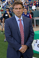 Chicago Fire head coach Carlos de los Cobos during the national anthem. The Chicago Fire beat the LA Galaxy 3-2 at Home Depot Center stadium in Carson, California on Sunday August 1, 2010.