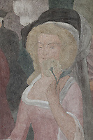 Detail of Marie Antoinette smelling a rose from a fresco entitled La Periode Classique, 1 of a series of 4 paintings depicting the 4 ages of French art, showing the French royal court in the gardens of the Palais de Versailles, with Marie Antoinette and the Dauphin, Mabel Gage, Voltaire and Antoine Watteau painting his painting L'Indifferent of 1716, painted in Art Deco style in 1929-30 by Robert La Montagne Saint-Hubert, 1887-1950, and 2 assistants, Ethel Wallace and James Newell, 1900-1985, 1 of 6 frescoes which were discovered during works in 1994 and restored in 2011, in the Grand Salon or Great Hall of the Fondation des Etats Unis or American Foundation, designed by Pierre Leprince-Ringuet, 1874-1954, and inaugurated in 1930, in the Cite Internationale Universitaire de Paris, in the 14th arrondissement of Paris, France. The Grand Salon is listed as a historic monument. The CIUP or Cite U was founded in 1925 after the First World War by Andre Honnorat and Emile Deutsch de la Meurthe to create a place of cooperation and peace amongst students and researchers from around the world. It consists of 5,800 rooms in 40 residences, accepting another 12,000 student residents each year. Picture by Manuel Cohen. Further clearances may be requested.