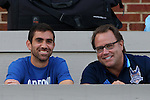 28 August 2016: Carolina RailHawks player Austin Da Luz (left) with broadcaster Dean Linke (right). The University of North Carolina Tar Heels hosted the Saint Louis University Billikens at Fetter Field in Chapel Hill, North Carolina in a 2016 NCAA Division I Men's Soccer match. UNC won the game 3-0.