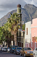 South Africa.  Cape Town, Bo-kaap.  Al-Awwal Mosque, the first mosque in Cape Town.  Dorp Street.  Table Mountain in background.