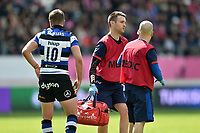 Bath Rugby physiotherapist Damien Kelly looks on. European Rugby Challenge Cup Semi Final, between Stade Francais and Bath Rugby on April 23, 2017 at the Stade Jean-Bouin in Paris, France. Photo by: Patrick Khachfe / Onside Images
