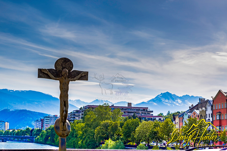Bronze Crucifixion at the bridge across the Inn river, Innsbruck, Tyrol, Austria
