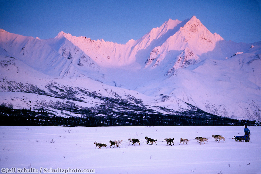 D Jonrowe Mushes near Rainy Pass Ak Range 2000 Iditarod AK