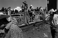 Cowboys wait for competition to begin at the annual Lincoln Rodeo in Lincoln, MT in June 2006.  The Lincoln Rodeo is an open rodeo, which means competitors need not be a member of a professional rodeo association.