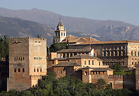 The Comares Tower; XIV century under the reign of Muhammad V; Nasrid Palaces; Palace of Charles V in the background, 16th Century, built by Pedro Machuca (1490 ? 1550), Alhambra, Granada, Andalusia, Spain Picture by Manuel Cohen