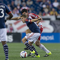 Foxborough, Massachusetts - September 16, 2015: In a Major League Soccer (MLS) match, the New England Revolution (blue/white) defeated New York Red Bulls (white/red), 2-1, at Gillette Stadium.