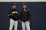 Mississippi coach Mike Bianco and Louisville coach Dan McDonnell at Oxford-University Stadium in Oxford, Miss. on Sunday, March 14, 2010. Louisville won 10-8.