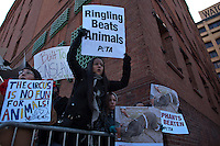 "Peta Members take part in a protest during ""Jumbo's coming to DUMBO"" where Asian Elephants dance in a party at brooklyn bridge to commemorate its inaugural show in Brooklyn. Photo by Eduardo Munoz Alvarez / VIEWpress."