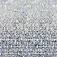 Mist, a hand-chopped stone mosaic, shown in 1.5 cm tumbled Calacata Tia, Celeste, Kay's Green, Blue Macauba.