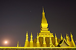 Phra That Luang, Vientiane, Laos at Night with Moon