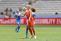 Houston, TX - Saturday April 15, 2017: Rachel Daly attempts to control a loose ball in front of Casey Short during a regular season National Women's Soccer League (NWSL) match won by the Houston Dash 2-0 over the Chicago Red Stars at BBVA Compass Stadium.