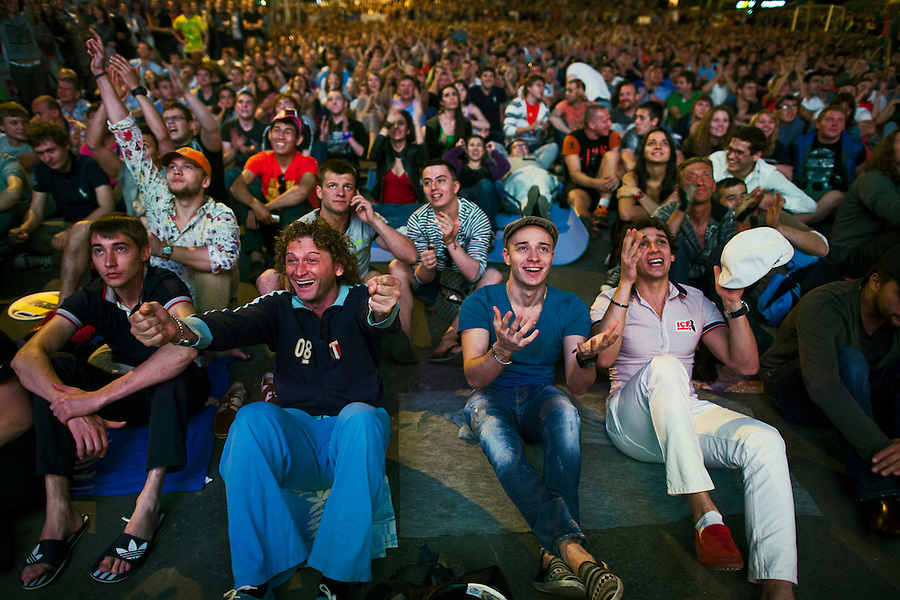Moscow, Russia, 01/07/2012..Italian supporters in the Euro 2012 Fan Zone in Gorky Park, as Spain beat Italy 4-0 in the final of the soccer championship.