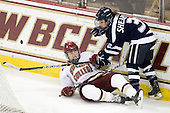 Taylor Wasylk (BC - 9), Courtney Sheary (UNH - 3) - The Boston College Eagles and the visiting University of New Hampshire Wildcats played to a scoreless tie in BC's senior game on Saturday, February 19, 2011, at Conte Forum in Chestnut Hill, Massachusetts.