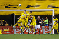 21 AUGUST 2010:  Chad Marshall of the Columbus Crew (14), Adam Moffat (22) and Steven Lenhart (32) go up for a header during MLS soccer game between Colorado Rapids vs Columbus Crew at Crew Stadium in Columbus, Ohio on August 21, 2010.