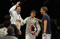 European Championships Fencing 2010 / Fecht Europameisterschaft 2010 in Leipzig - Competition Championat d'europe - im Bild: the new European Champion mens foil team - the Italian Team Andrea Baldini (middle) does the last point Valerio ASPROMONTE (right) and Vitalie Cojocari (Coach) run to him . Foto: Norman Rembarz..Norman Rembarz , Autorennummer 41043728 , Augustenstr. 2, 04317 Leipzig, Tel.: 01794887569, Hypovereinsbank: BLZ: 86020086, KN: 357889472, St.Nr.: 231/261/06432 - Jegliche kommerzielle Nutzung ist honorar- und mehrwertsteuerpflichtig! Persönlichkeitsrechte sind zu wahren. Es wird keine Haftung übernommen bei Verletzung von Rechten Dritter. Autoren-Nennung gem. §13 UrhGes. wird verlangt. Weitergabe an Dritte nur nach  vorheriger Absprache..