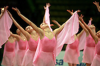 """Young performers from Deriugina School perform gala at 2008 World Cup Kiev, """"Deriugina Cup"""" in Kiev, Ukraine on March 21, 2008."""