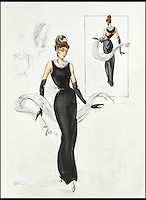 Original sketch for iconic Hepburn dress.