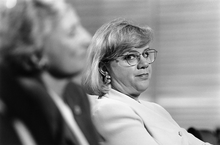 """Representative Jane Harman (left) and Susan Brooks (right) at """"contested election"""" hearing. May 10, 1995 (Photo by Laura Patterson/CQ Roll Call)"""