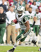 New York Jets running back Shonn Greene (23) breaks loose for the final touchdown against the Washington Redskins at FedEx Field in Landover, Maryland on Sunday, December 4, 2011.  The Jets won the game 34 - 19..Credit: Ron Sachs / CNP.(RESTRICTION: NO New York or New Jersey Newspapers or newspapers within a 75 mile radius of New York City)