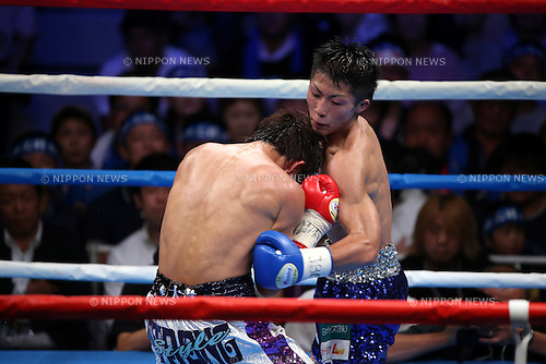 (L to R) Ryoichi Taguchi, Naoya Inoue, AUGUST 25, 2013 - Boxing : Naoya Inoue hits against Ryoichi Taguchi during the performed a match of the boxing 50kg weight division at Sky Arena Zama, in Kanagawa, Japan. (Photo by Jun Tsukida/AFLO SPORT)