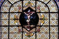 Christ Crucified, stained glass window, Chapelle des Ames du Purgatoire (Chapel of Souls in Purgatory), Eglise Saint-Sulpice (St Sulpitius' Church), c.1646-1745, late Baroque church on the Left Bank, Paris, France. Picture by Manuel Cohen