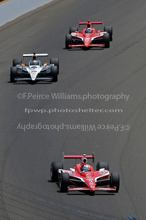 29 May, 2011, Indianapolis, Indiana, USA .Scott Dixon (#9), Alex Tagliani (#77) and Dario Franchitti (#10)..©2011, F. Peirce Williams.