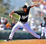 1 March 2009: Florida Marlins' pitcher Kiko Calero on the mound during a Spring Training game against the St. Louis Cardinals at Roger Dean Stadium in Jupiter, Florida. The Cardinals outhit the Marlins 20-13 resulting in a 14-10 win for the Cards. Mandatory Photo Credit: Ed Wolfstein Photo