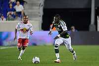 Kalif Alhassan (11) of the Portland Timbers. The New York Red Bulls defeated the Portland Timbers 2-0 during a Major League Soccer (MLS) match at Red Bull Arena in Harrison, NJ, on September 24, 2011.