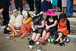 Royal Ascot horse racing Berkshire. 2012 Group of women girls day out together at the races.