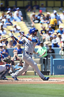 082816 Los Angeles, CA: Chicago Cubs second baseman Ben Zobrist #18 during an MLB game between the Chicago Cubs and the Los Angeles Dodgers, played at Dodger Stadium