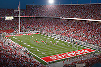 The field during during the second quarter of the NCAA football game at Ohio Stadium on Thursday, September 2, 2010. Ohio State Buckeyes vs. Marshall University Thundering Herd. Photo shot from the south stands. (Photo by Karl Kuntz)