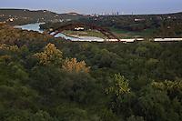 360 Bridge, aka Pennybacker Bridge, on Capital of Texas Highway and Lake Austin overlooking the Downtown Austin Skyline