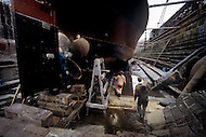 August 1981. Newcastle area, England. There is no new construction at the Newcastle ship yard, just maintenance work.