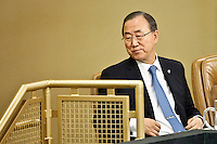 The General Secretary General of United Nations Ban Ki-moon attends a meeting to include in the agenda of development to the one billion people who suffer disability During the 68th Session of the UN General assembly in New York,  Sept 23, 2013, Photo by Stringer / VIEWpress.
