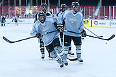 Trevor Mingoia (PC - 9), Steven McParland (PC - 15) -  - The participating teams in Hockey East's first doubleheader during Frozen Fenway practiced on January 3, 2014 at Fenway Park in Boston, Massachusetts.
