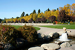 Independence Point fountain and autumn at city beach, Coeur D Alene, Idaho