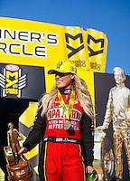 Feb 12, 2017; Pomona, CA, USA; NHRA top fuel driver Leah Pritchett celebrates after winning the Winternationals at Auto Club Raceway at Pomona. Mandatory Credit: Mark J. Rebilas-USA TODAY Sports